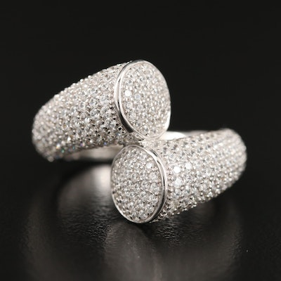 Sterling Pavé Cubic Zirconia Bypass Ring