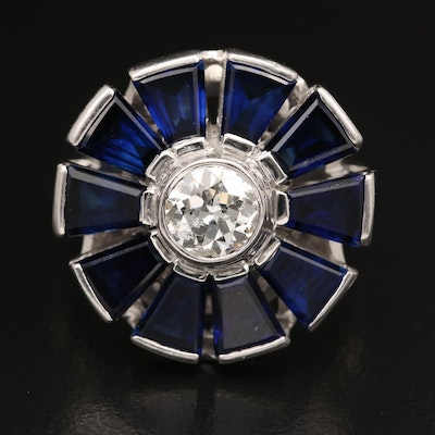 14K Diamond and Sapphire Floral Ring with Platinum Setting
