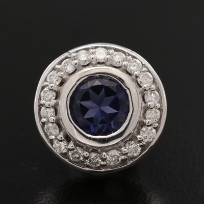14K Iolite and Diamond Circle Pendant