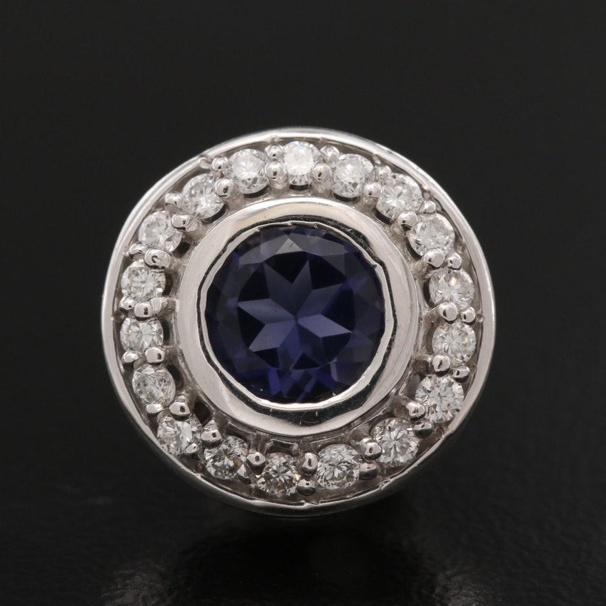 14K Iolite and Diamond Circle Pendant