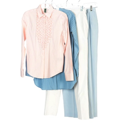 Lauren Jeans Co. and Lauren Ralph Lauren Silk Blend Trousers and Cotton Shirts