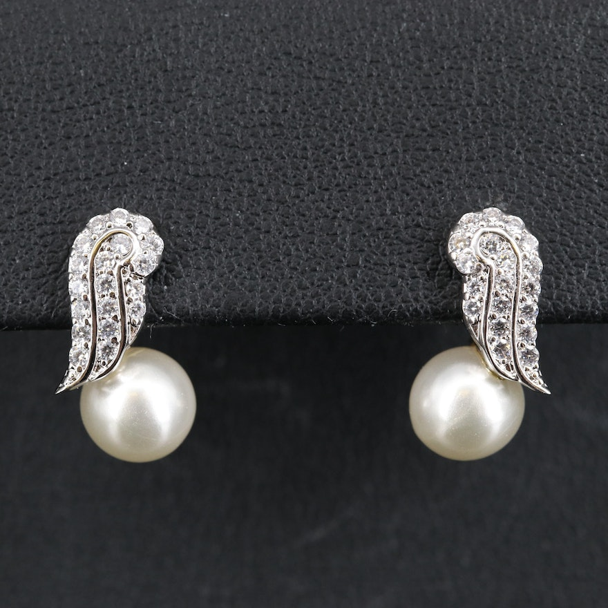 Sterling Silver Cubic Zirconia and Faux Pearl Earrings