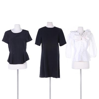 Adrianna Papell Ruffle Collar Taffeta Blouse, DKNY Black Top and Lela Rose Dress