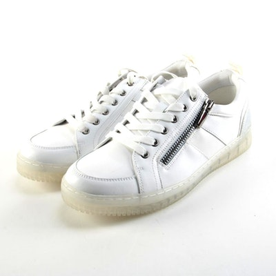 INC International Concepts White and Silver Zipper Sneakers
