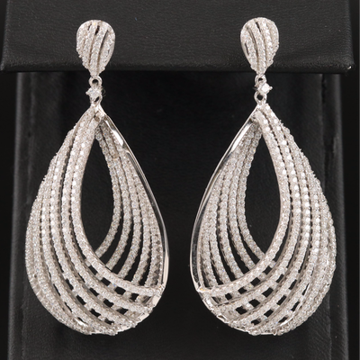 Sterling Cubic Zirconia Openwork Drop Earrings