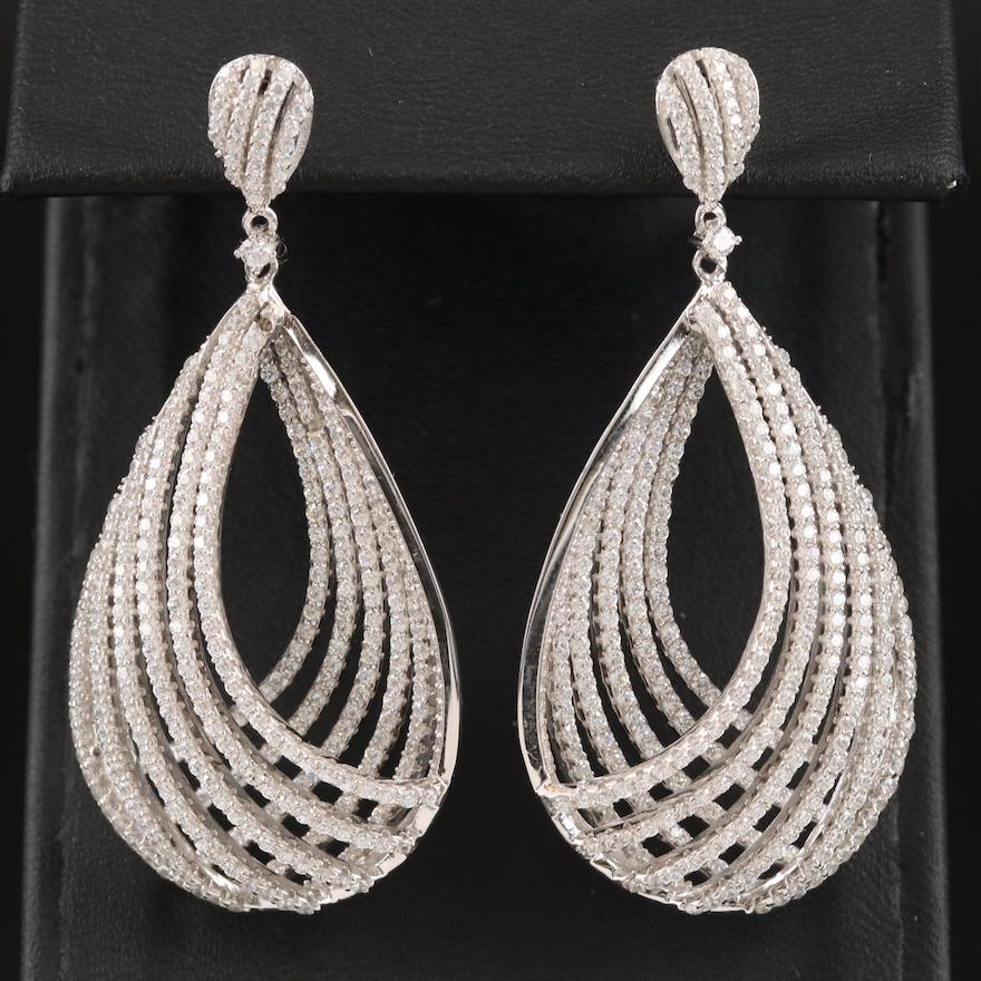 Sterling Cubic Zirconia Openwork Drop Earrings