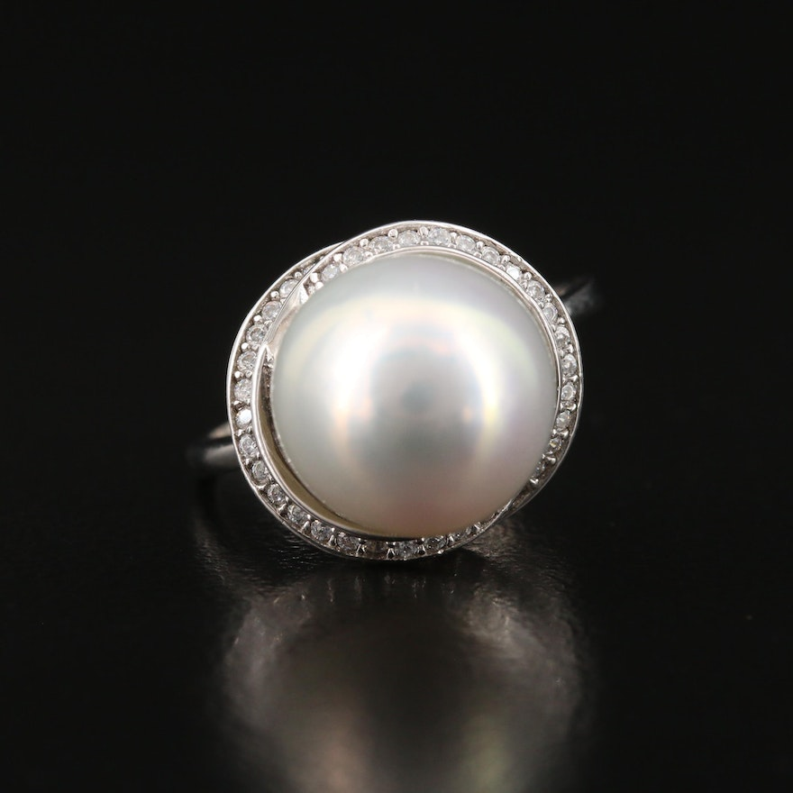 Sterling Silver Pearl Ring with Overlapping Cubic Zirconia Halos