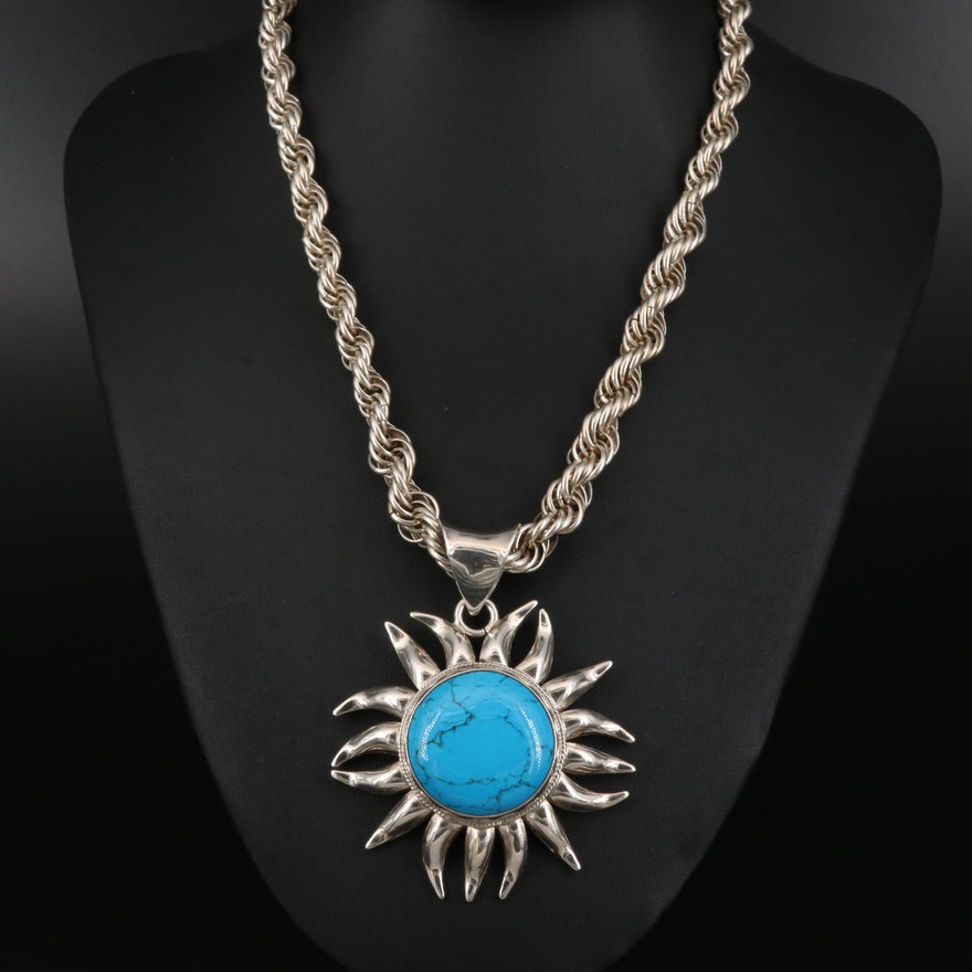 Sterling Silver Sunburst Faux Turquoise Necklace