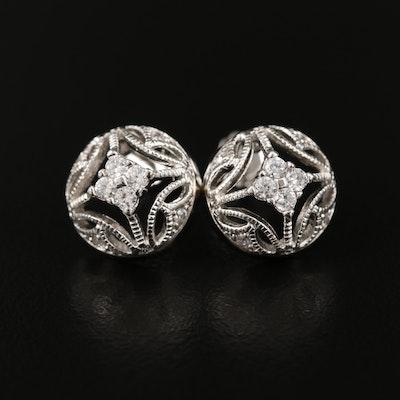 Sterling Cubic Zirconia Openwork Earrings
