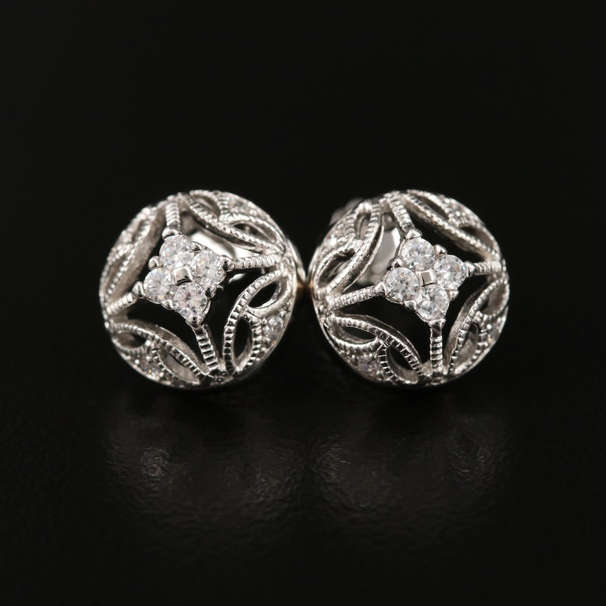 Sterling Cubic Zirconia Openwork Earrings