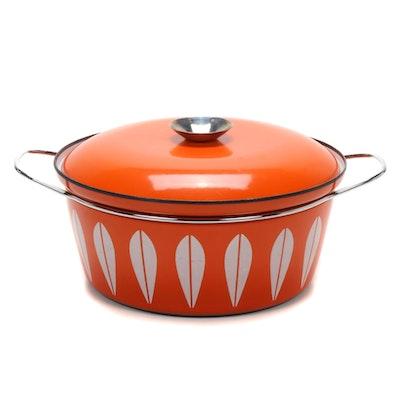 "Cathrine Holm  Orange ""Lotus"" Enamelware Dutch Oven, Mid-20th Century"