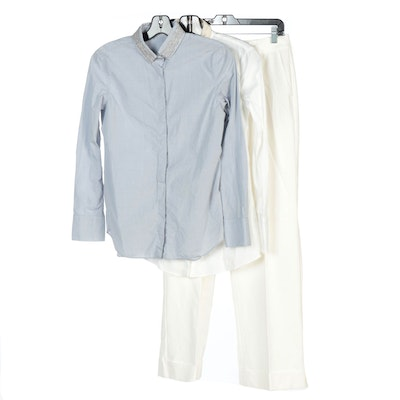 Brunello Cucinelli Long-Sleeve Shirts and St. John White Cuffed Trousers