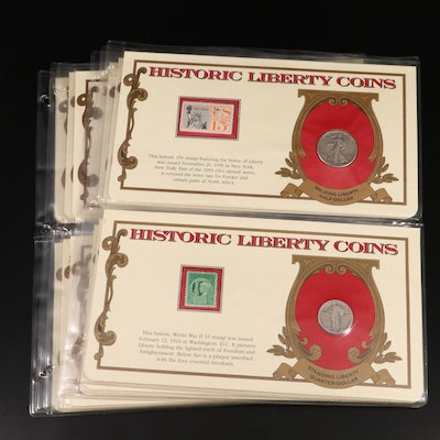 """Six Album Pages of """"Historic Liberty Coins"""" Silver U.S. Coins"""