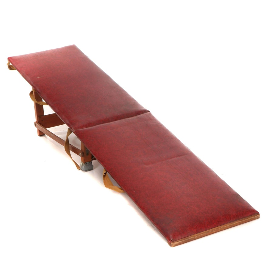 Wood and Vinyl-Upholstered Sit-Up Workout Bench, Early 20th Century
