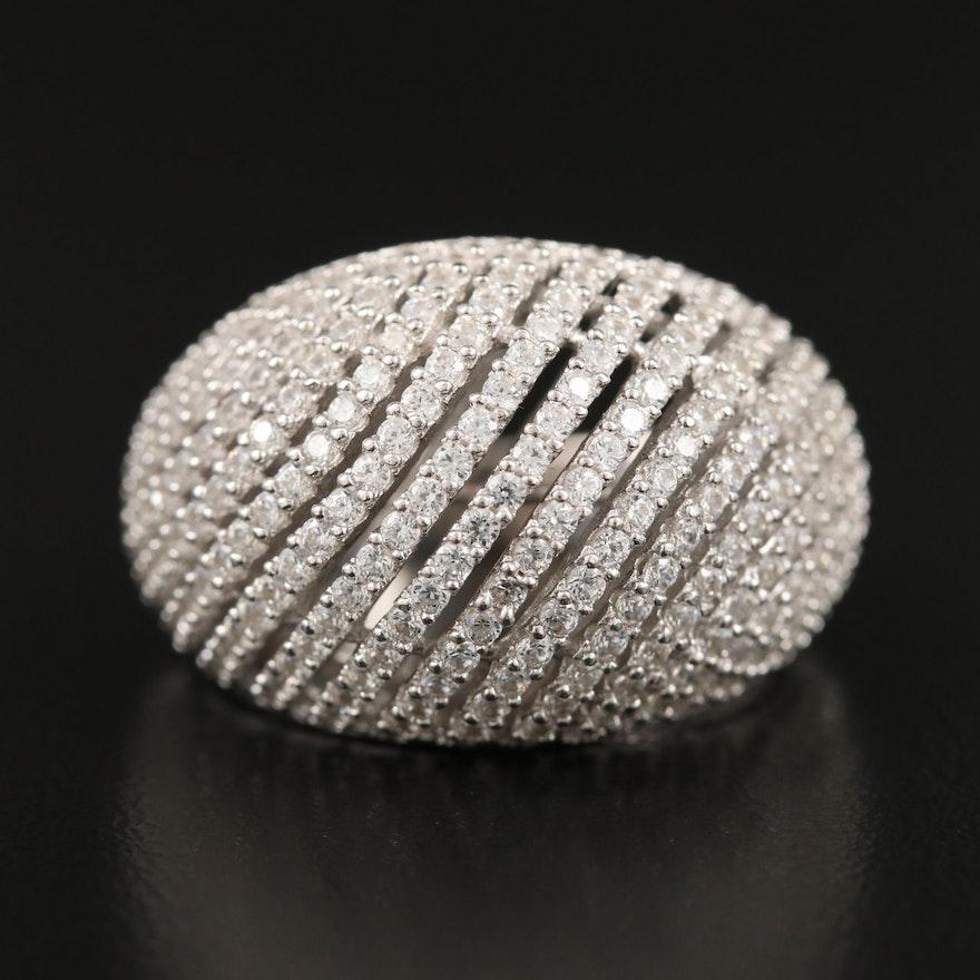 Sterling Cubic Zirconia Openwork Bombé Ring