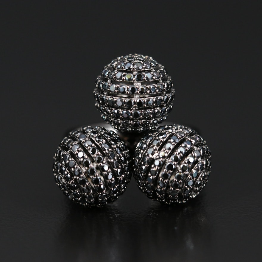 Sterling Silver Triple Spinel Balls Ring
