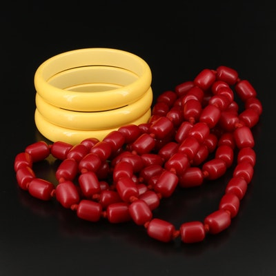 Vintage Beaded Necklace and Bakelite Bangles