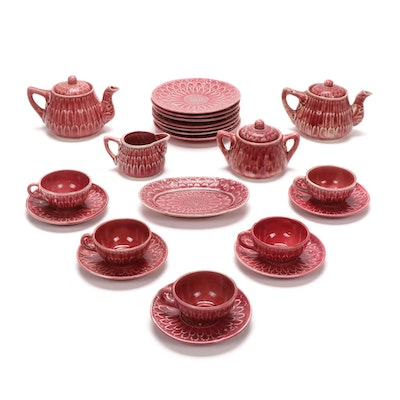 Japanese Petal Motif Ceramic Tea Set, Mid to Late 20th Century