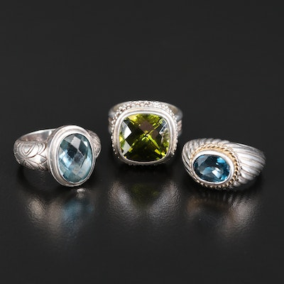 Sterling Bezel Set Gemstone Rings with Topaz, Cubic Zirconia and Glass