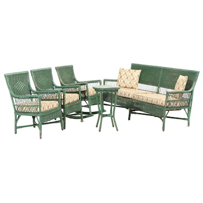 Five-Piece Green-Painted Wicker Patio Furniture Set, Early to Mid 20th Century