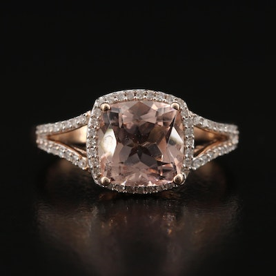 10K Morganite and Diamond Halo Ring