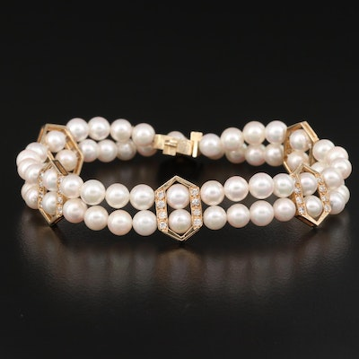14K 1.00 CTW Diamond and Pearl Double Strand Bracelet