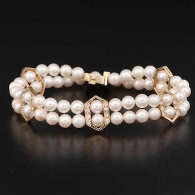 14K 1.00 CTW Diamond and Pearl Double Strand Bracelet