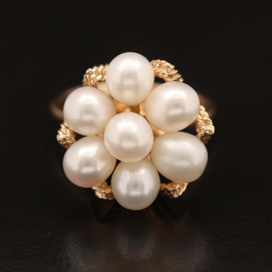 14K Pearl Cluster Ring