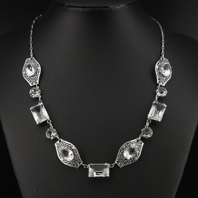 Art Deco and Faceted Glass Filigree Necklace
