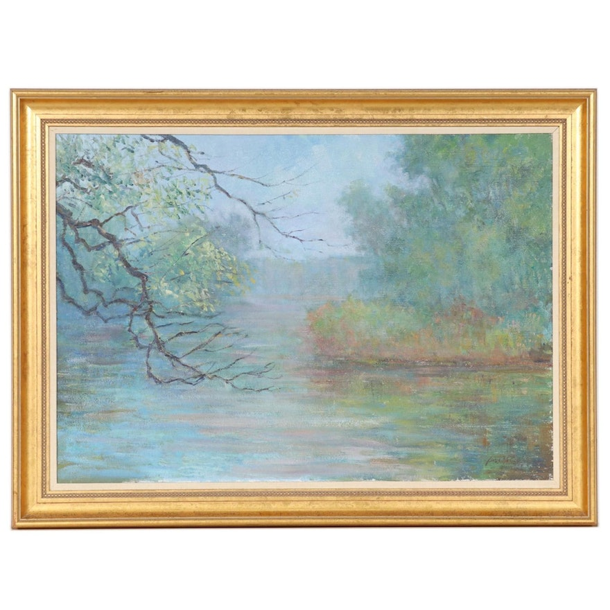 """James McGinley Oil Painting """"Morning Mist,"""" Mid to Late 20th Century"""
