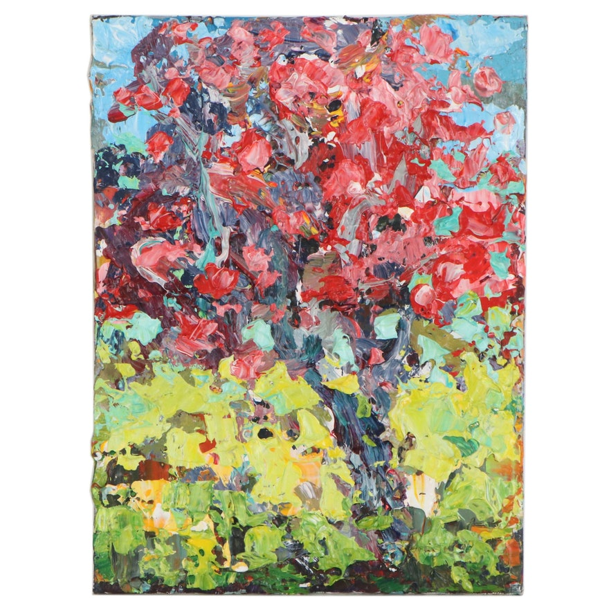 "Leif Janek Acrylic Painting ""Cherry Blossoms,"" 21st Century"