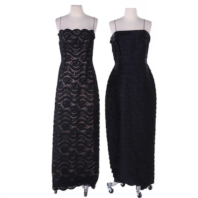 Carmen Marc Valvo Black Pleated Evening Dress and Other Lace Evening Dress