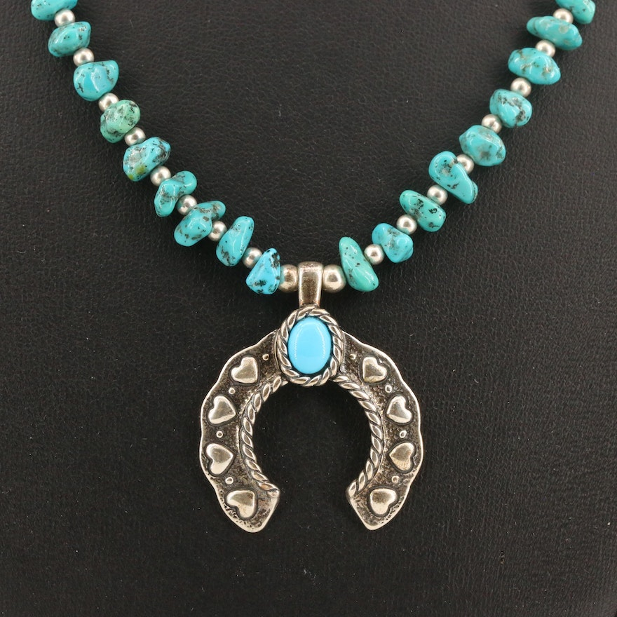 Carlisle Jewelry Sterling Silver Turquoise Naja Pendant Necklace