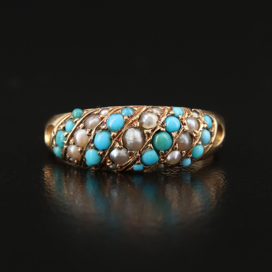 14K Turquoise and Seed Pearl Multi-Row Ring
