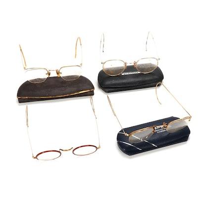 12K Gold Filled Eyeglasses and Cases