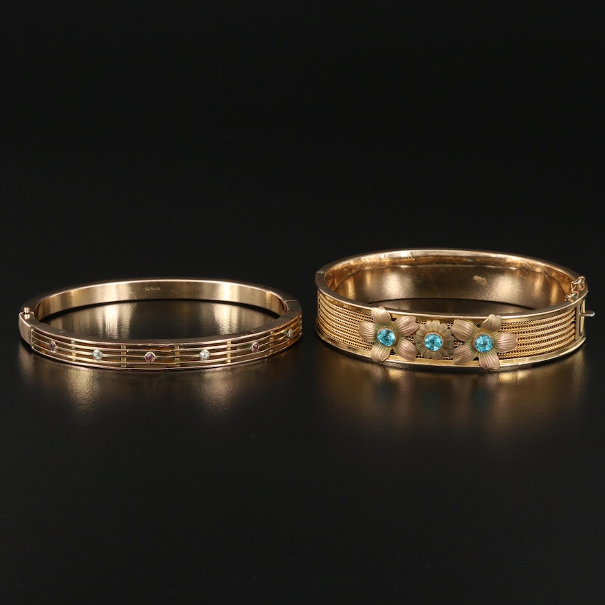 1930s and 1940s Floral and Openwork Hinged Bracelets
