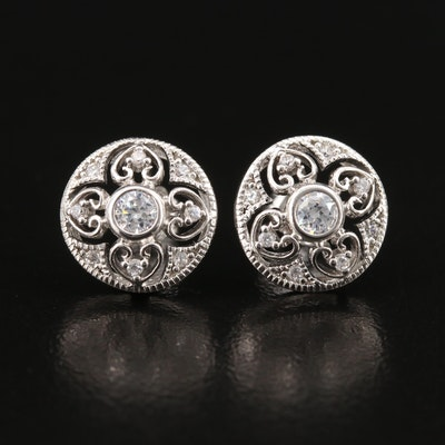 Sterling Cubic Zirconia Quatrefoil Stud Earrings