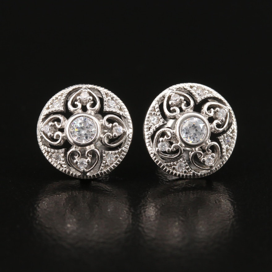 Sterling Cubic Zirconia Quatrefoil Stud Earrings