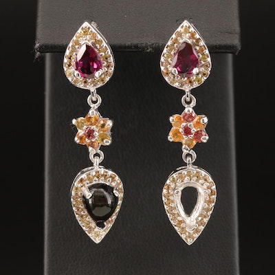 Sterling Silver Flower Drop Earrings with Opal, Sapphire and Garnet