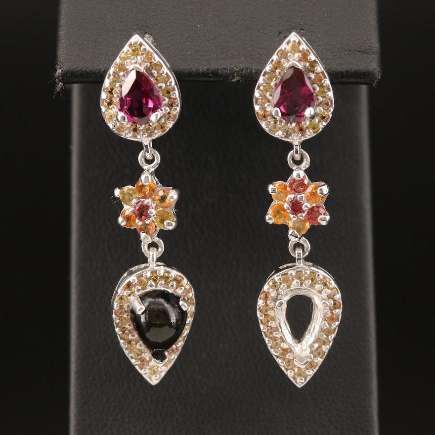 Sterling Silver Flower Drop Earrings with Opal, Sapphire and Garnet