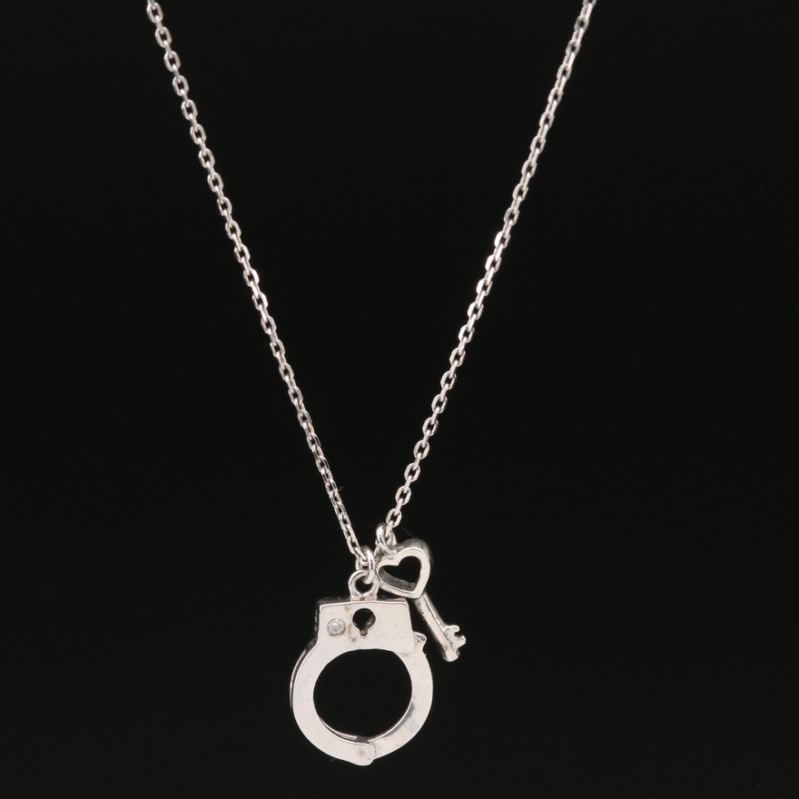 Sterling Cubic Zirconia Handcuff and Key Pendant Necklace
