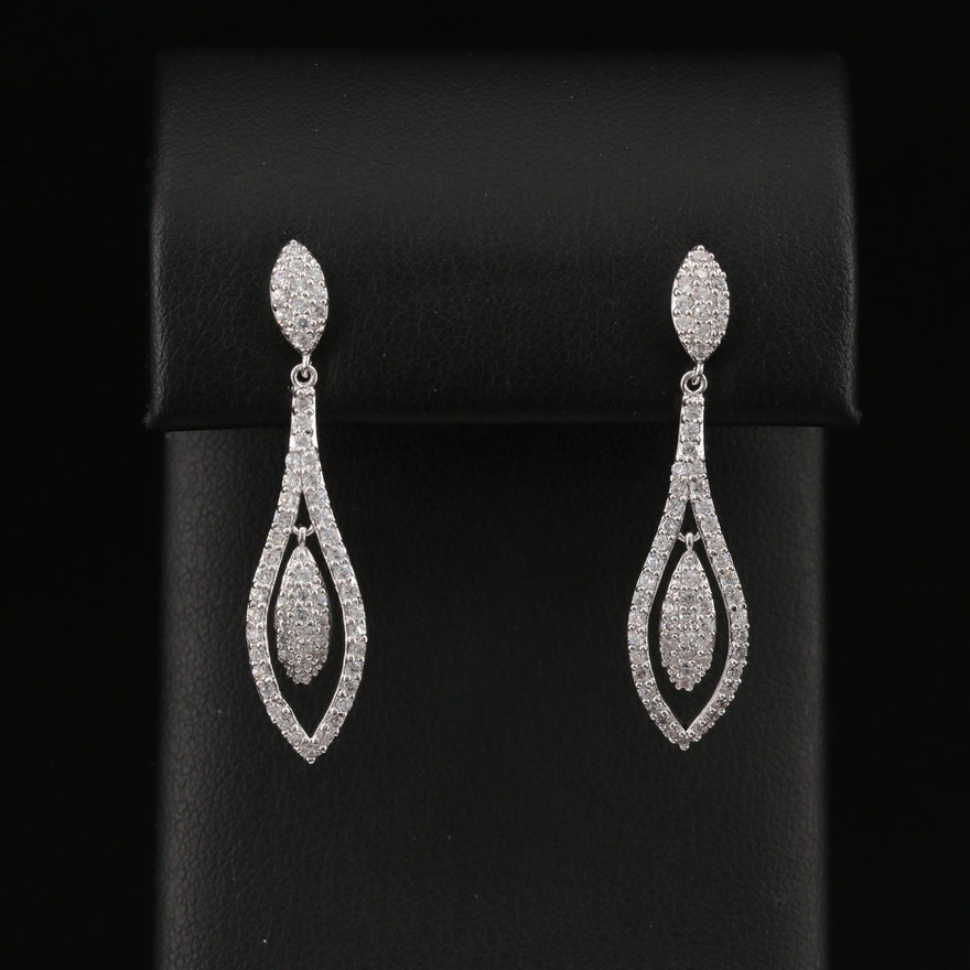 Sterling Cubic Zirconia Dangle Earrings