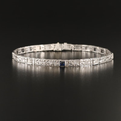 Art Deco 20K Diamond and Sapphire Floral Engraved Bracelet