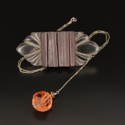 Glass Pendant on Enamel Accented Chain with Wood Brooch