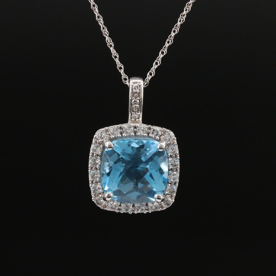 10K Topaz, Sapphire and Diamond Pendant Necklace