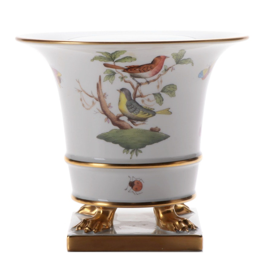 """Herend Hand-Painted """"Rothschild Bird"""" Porcelain Claw Footed Vase"""