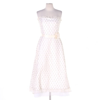 Ristarose Faux Pearl Embellished and Embroidered Strapless Occasion Dress