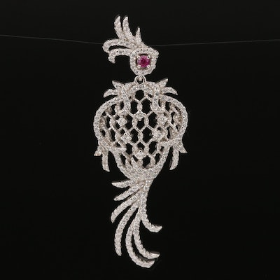 Sterling Ruby and Cubic Zirconia Articulated Bird Pendant