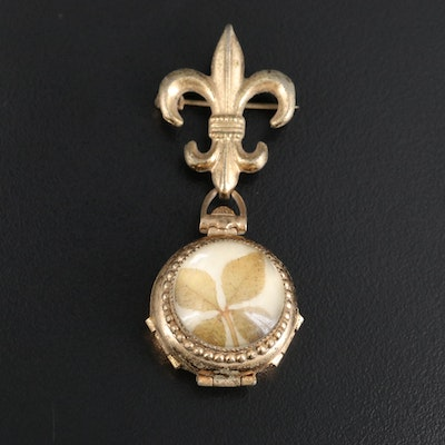 Vintage Coro Locket Featuring Pressed Four Leaf Clover