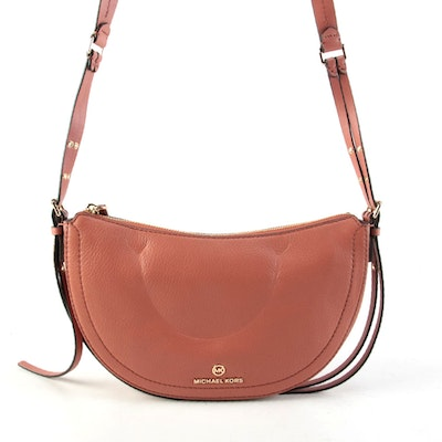 MICHAEL Michael Kors Camden Grained Leather Crossbody in Sunset Peach